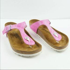 Birkenstock Gizeh Pink Brown Sandals Womens 39
